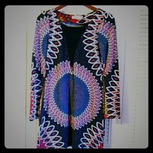 🦇Aryeh Anthro zippered Boho longsleeve midi dress